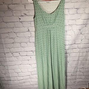 Boden green/white maxi dress  Sz 8